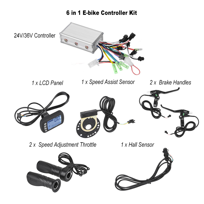 24V 36V Electric Bike Bicycle Brushless Controller with LCD Panel Speed Adjustment Throttle Handles Speed Assist