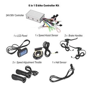 Image 1 - 24 V/36 V חשמלי אופני אופניים Brushless בקר עם LCD פנל + מהירות התאמת מצערת + ידיות + מהירות לסייע ערכת חיישן