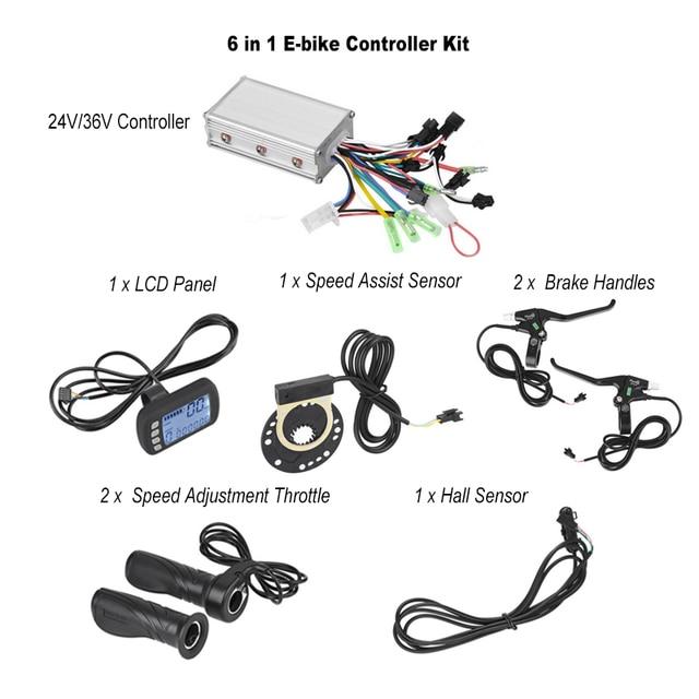 24 V/36 V חשמלי אופני אופניים Brushless בקר עם LCD פנל + מהירות התאמת מצערת + ידיות + מהירות לסייע ערכת חיישן