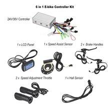 Controlador sin escobillas para bicicleta eléctrica, 24V/36V, con Panel LCD + Acelerador de ajuste de velocidad + asas + Kit de Sensor de asistencia de velocidad