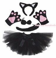 זנב אוזן סרט קיד claw paw חתול שחור מסיבת ליל כל הקדושים תחפושת חצאית גזה קשת