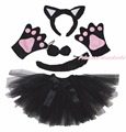 Festa de Halloween do preto Cat Kid Headband Ear garra Paw cauda arco gaze traje saia