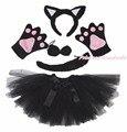 Fiesta de Halloween gato negro del cabrito de la venda del oído de la garra de la pata de la cola de la gasa de la falda del traje