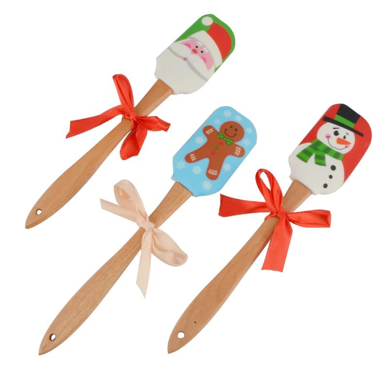 Upspirit Silikon Creme Spachtel mit Holzgriff Weihnachten Themed ...