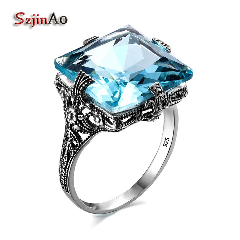 Szjinao Vintage Square 925 Sterling Silver Ring Cool Ring For Women Ethnic Byzantine Style Aquamarine Engagement Fine Jewelry