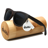 Ablibi Men's Unique Wood Sunglasses for Women Bamboo Square Polarized UV400 Floating Black Sun Shades in Wood Case oculos de sol
