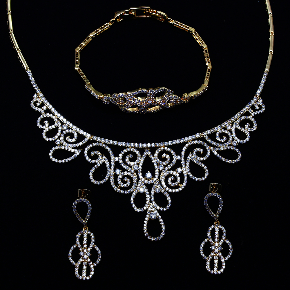 Grand Look Bohemia Jewelry Luxury Wedding sets Filled with Gold-color New Fashion Women High-end Necklace Earrings set jewelry