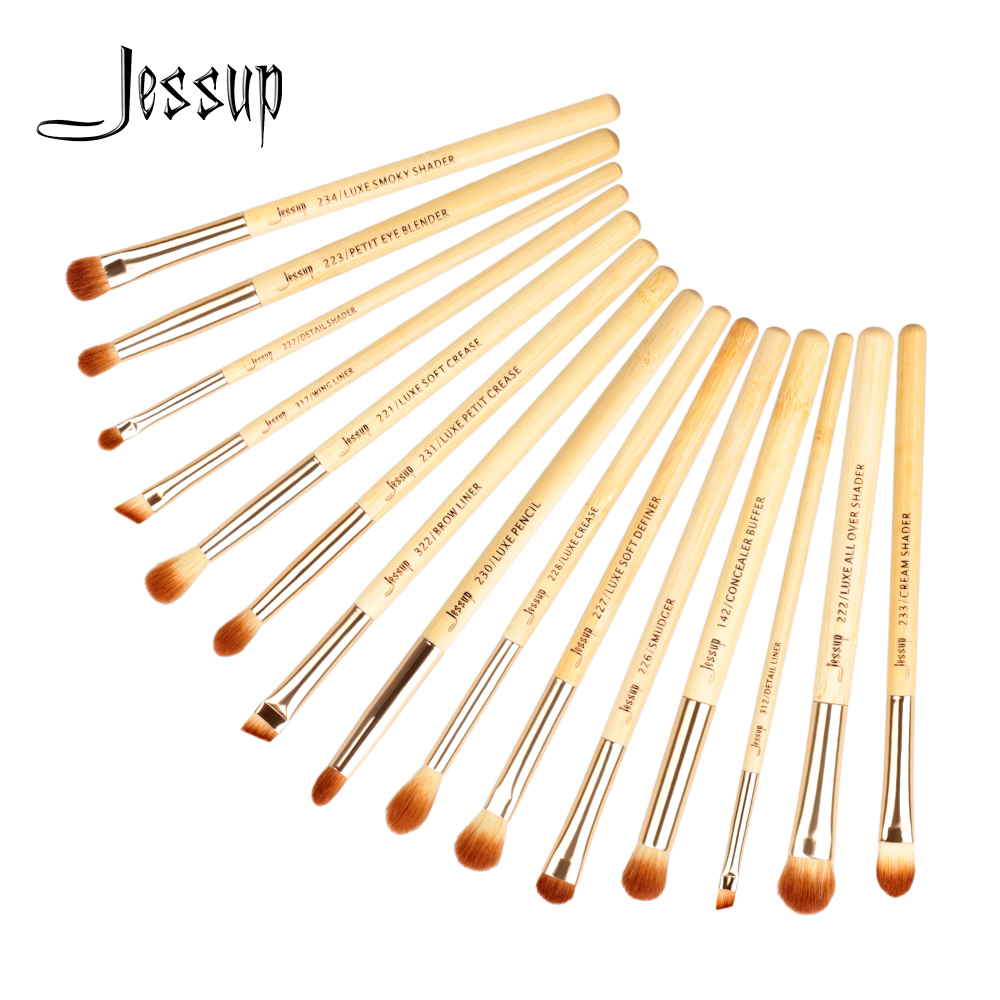 Jessup 15pcs Bamboo brochas maquillaje pinceaux maquillage Professional Concealer Eyeshadow Eyeliner Makeup Brushes Set T137 8pcs makeup brushes cosmetics eyeshadow eyeliner brush kit 15 color concealer facial care camouflage makeup palette sponge puff