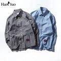 Patchwork listrado camisas dos homens camisas dos homens casuais de algodão de manga comprida 2017 outono masculino clothing azul cinza