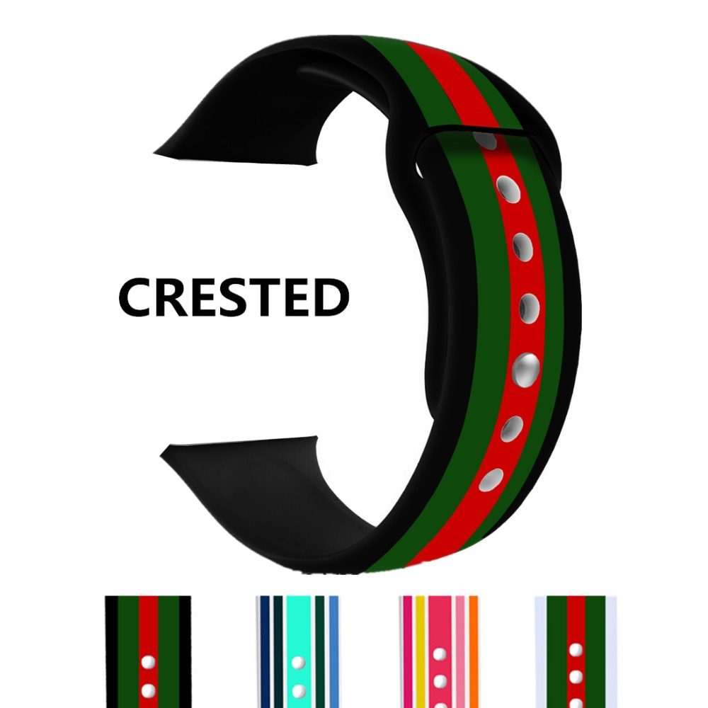 CRESTED Silicone Sport For Apple Watch band Strap 42mm 38mm iwatch 3 2 1 Print Flower Wrist bands Watchband Bracelet Rubber belt crested leather strap for apple watch band 42mm 38mm iwatch series 3 2 1 christmas wrist bands bracelet flower watchband belt