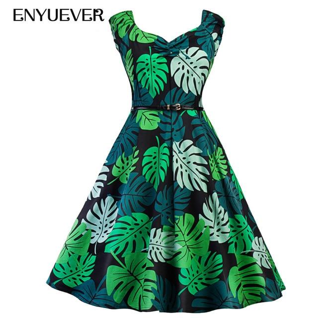 Enyuever Ropa Vintage Dresses 50s 60s Green Palm Leaf Print Retro Elegant Rockabilly  Party Dress Casual Vestidos Women clothing 616b0ee57