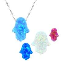 New Arrival Fatima Fire Opal Necklace Pendant 8 Colors Hamsa Hand Design Choker Necklace Women 925 Silver Jewelry Israel Jewish