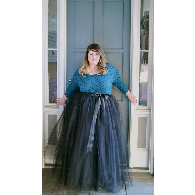New Arrival Vintage Plus Size Black Long Tulle Skirt Autumn Winter Style  Tie On Ribbon Waist Maxi Skirt for Women Custom Made 15a95caf1627
