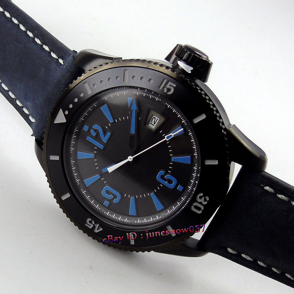 BLIGER 43mm black dial luminous blue marks ceramic bezel PVD case MIYOTA Automatic movement mens watchBLIGER 43mm black dial luminous blue marks ceramic bezel PVD case MIYOTA Automatic movement mens watch
