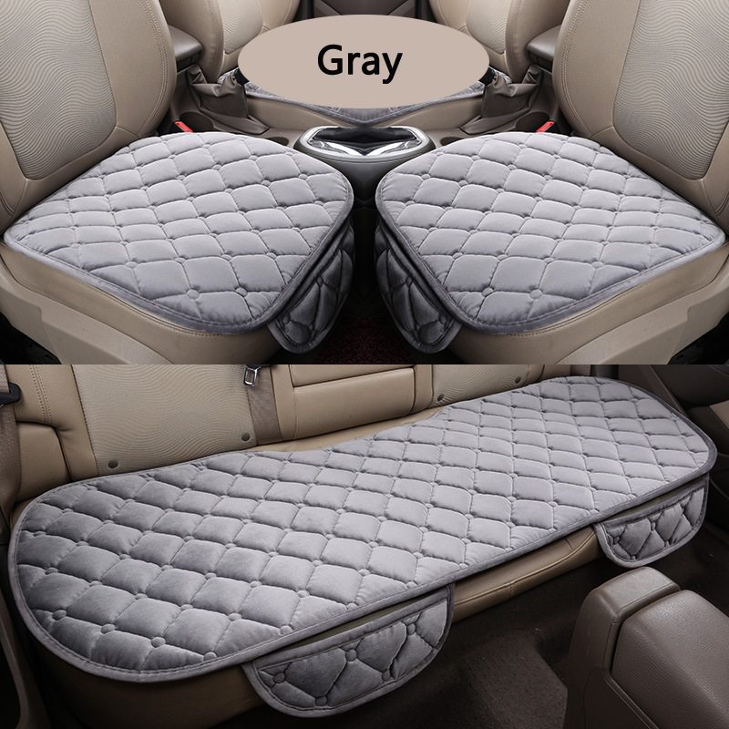 3 Pcs/Set Car Seat Coves Protector Mat Auto Front Seat Warm Velvet Back Seat Covers Non slip Comfort Cushion Car Seat Cover Y1