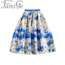 Women Floral Midi Skirts Plus Size XXL 2017 Sun Flowers Printed High Waist Pleated Skater Flared Tutu Skirt Saia Jupe Longue