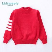 Kidsweety Teenagers Kids Clothes Boys Printed Stripe Sport Warm Full Velvet Sleeve Sweater Pullover Children School Boy Clothing