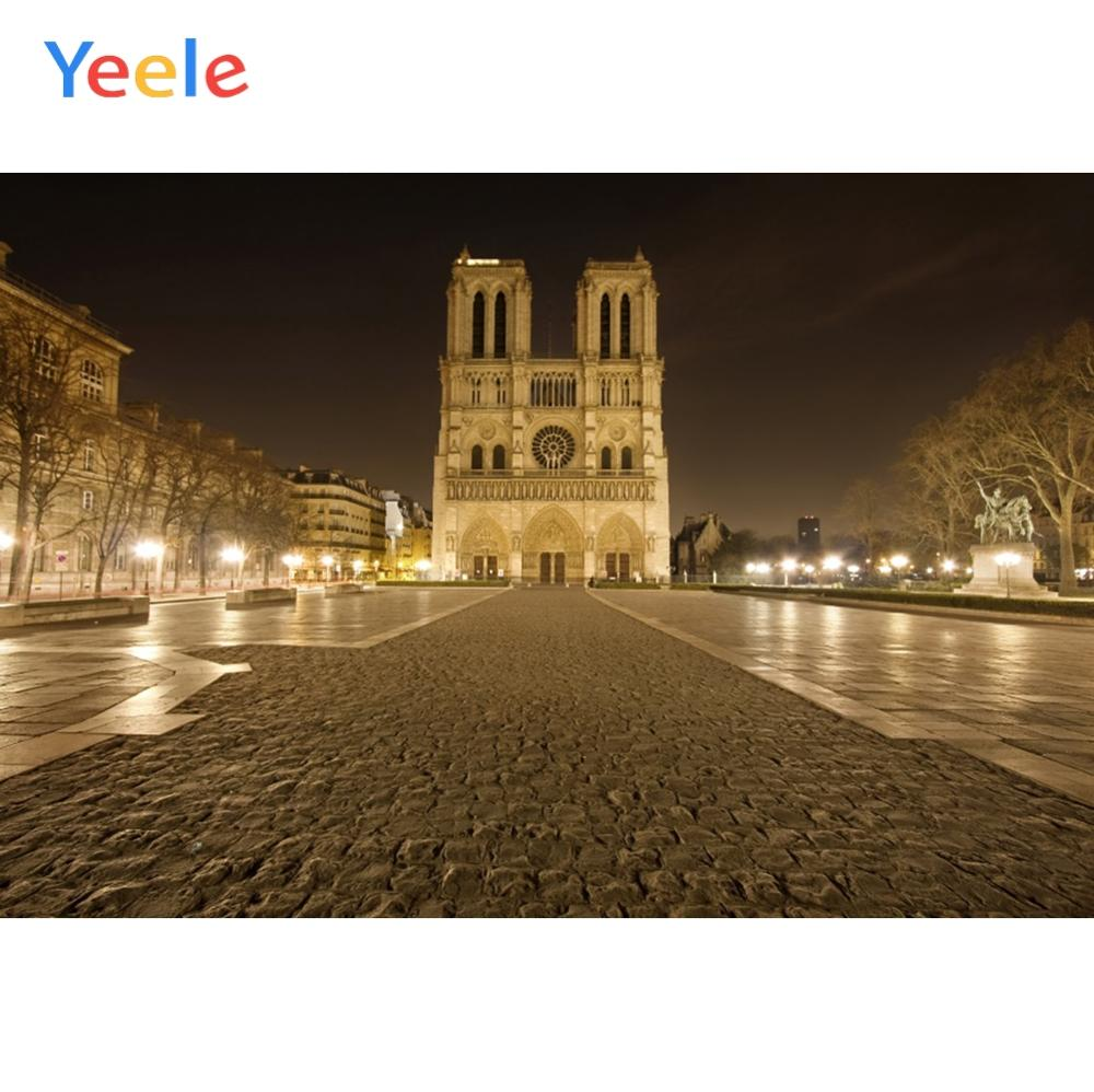 YEELE 12x8ft Vintage Cathedral Backdrop Notre Dame de Paris Cathedral Photography Background Scenic Frech Landmark Tourist Attractions Holiday Travel Kids Adults Artistic Portrait Photoshoot Props
