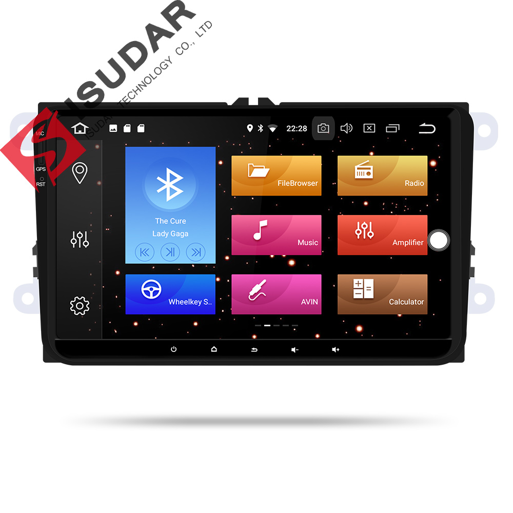 9 Isudar Car Multimedia Player GPS Android Para VW/Golf/Tiguan/Skoda/Fabia/Rápido/ assento/Leon 8 Núcleo RAM 4 GB DSP Rádio Auto 1 Din FM