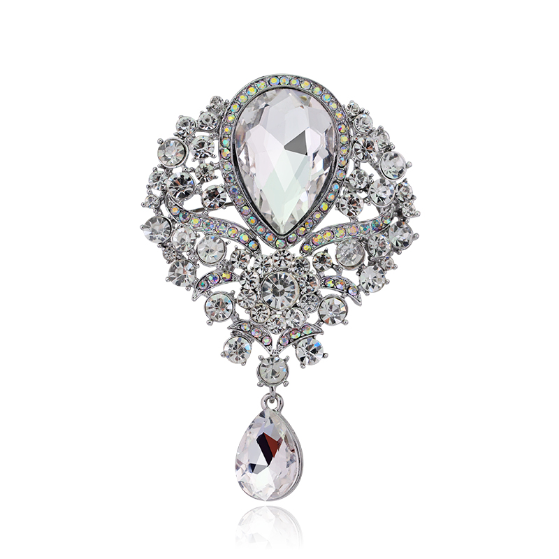 Fashion 84*56mm Large Vintage Female Brooches DIY Wedding Women Collar Lapel Icon Flower Rhinestone Brooch Buttons Pins Jewel