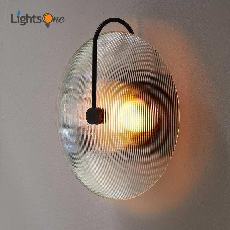 Nordic modern minimalist creative personality glass living room round bed bedroom aisle wall light model house