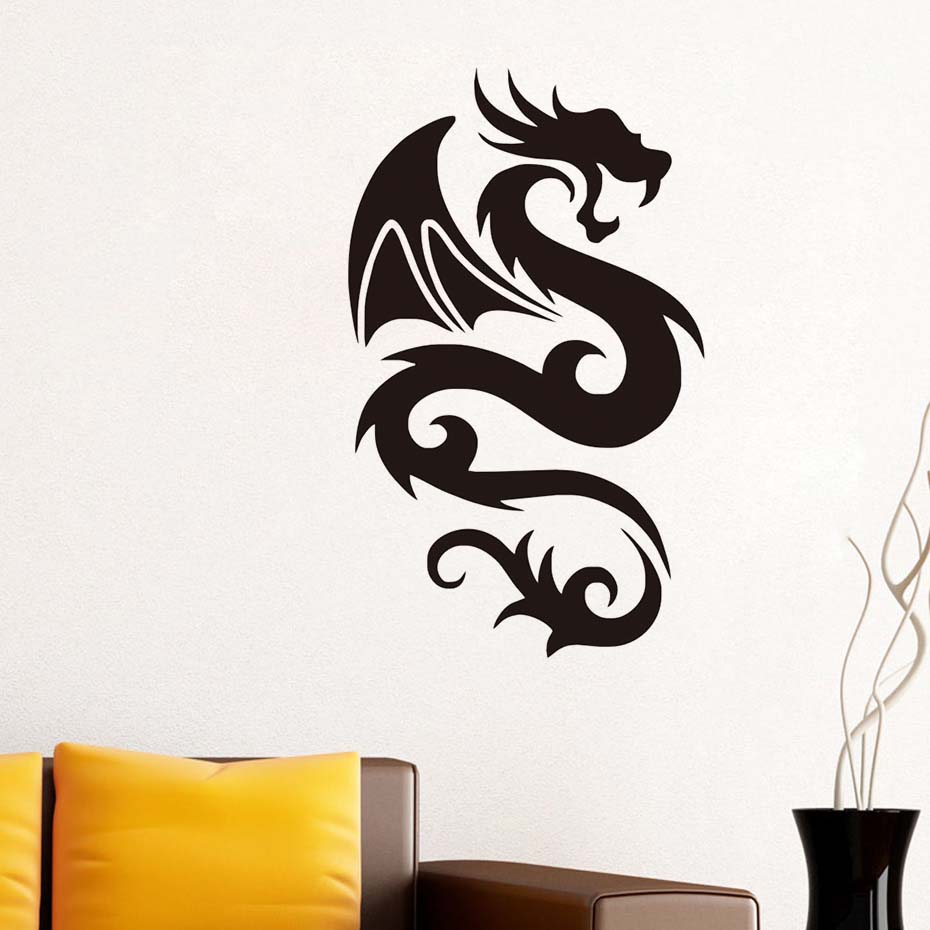 Image 3 - Peaceful Dragon with Wing Wall Sticker Vinyls for Wall Decals Children's Decorative Home Bedroom Living Room sofa Art WallPaper-in Wall Stickers from Home & Garden