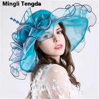 Pink Women's Fashion Hat Wedding Big Flower Gauze Seaside Sunscreen Beach Visor Blue Bridal Hat Feather Hats Caps Mingli Tengda
