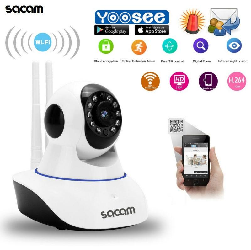 Sacam 720P WiFi Wireless Security Indoor IP Camera Network Pan Tilt CCTV Home Burglar Alarm Systems Motion Detection app. YOOSEE