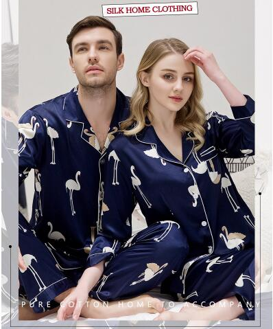 Spring Autumn Couple Men Women's Lovers Silk Sleepwear Men's Long Sleeve Pajamas Twinset Loungewear Pyjama Nightwear Bird