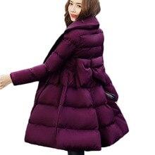 ผู้หญิง เสื้อแจ็คเก็ตผ้าฝ้ายอุ่นเสื้อใหม่แฟชั่นลูกตุ้มขนาดใหญ่โบว์ลงผ้าฝ้ายบางขนาดใหญ่ผู้หญิง Outerwear Parkas