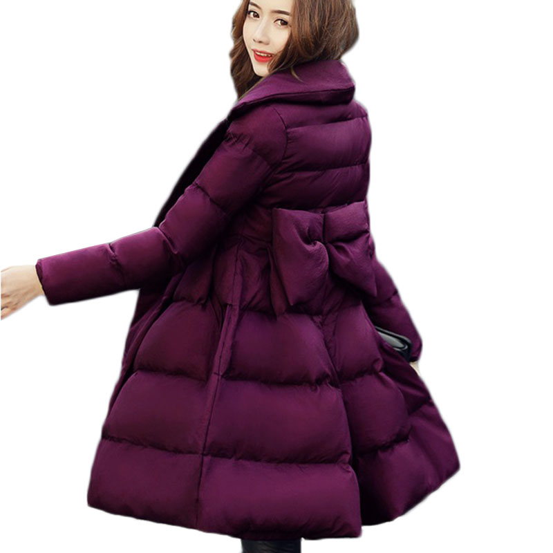 Women Winter Parkas Jacket Warm Cotton Coat New Fashion Big Pendulum Bow Down Cotton Jacket Slim Large Size Women Outerwear 412