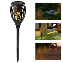 New 1 or 2 Pcs 96 LED Waterproof Flickering Flame Solar Torch Light Garden Lamp Outdoor Landscape Decoration Garden Lawn Light waterproof led solar panel lawn simulation stone spotlights new year projector lamp outdoor garden landscape garland decoration