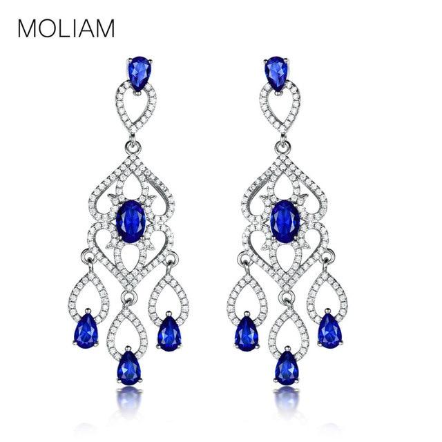 MOLIAM Luxury Flower Chandelier Earrings for Women Silver Color Cubic  Zirconia Crystal Earring Fashion Wedding Jewelry MLAE049 dfa964715ae5