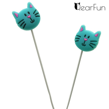 Cute Mint Cartoon Cat Earphones In-ear Earbuds 3.5mm Earbuds With Mic Volume +/- Wire Control For Xiaomi Smartphone Kids Gifts