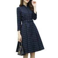 Spring Autumn Plaid Dress Women Jurk High Waist Vintage Office Dress Vestidos Retro Elegant Winter Ladies