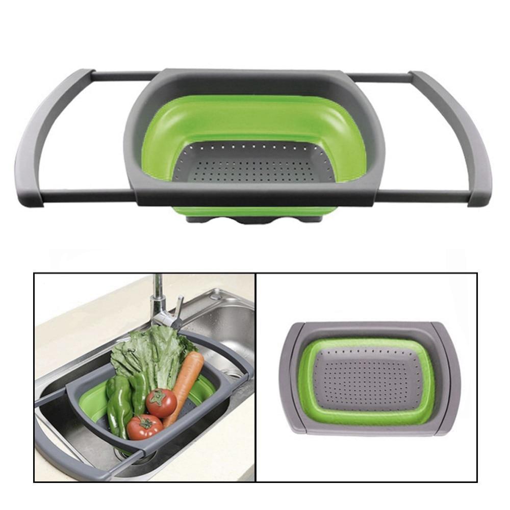 Foldable Collapsible Kitchen Colander Fruit Vegetable Noodles Strainer Drainer Washing Basket Plastic Drain Folding Baskets B4 in Colanders Strainers from Home Garden