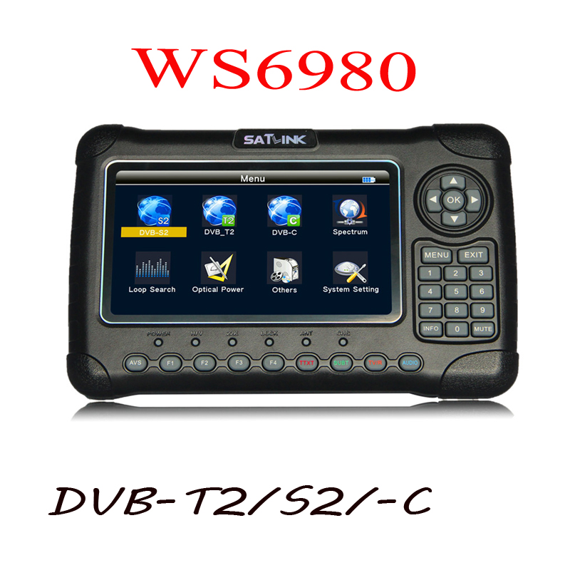 Satlink 6980 7 Polegada HD LCD WS6980 ws-6980 DVB-S2/C DVB-T2 detecção Óptica Espectro localizador de satélite satlink WS 6980