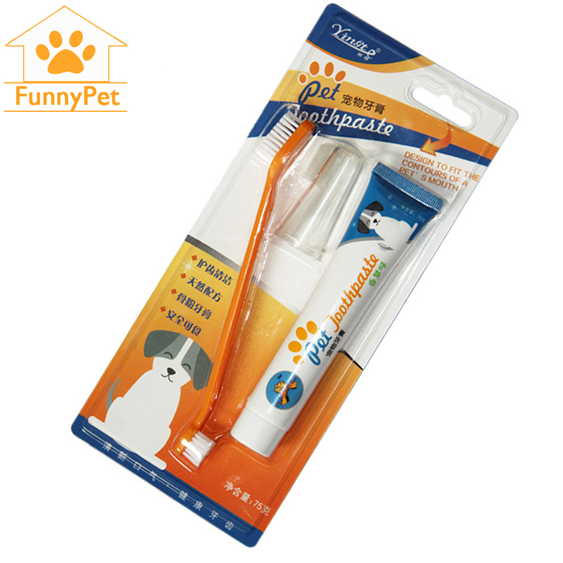 Pet Dog Cat Toothbrush Set Hot Puppy Vanilla Flavour Teeth Brush Tartar Tool Toothpaste Brush Head Finger Back Up Brush Care Set image