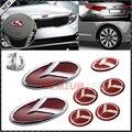 7 pcs 3D Red K Velocidade Conjunto Crachá Emblema (grade Tronco Cobertura de Volante 4 Jantes) para 2011 2012 2013 Kia Optima K5