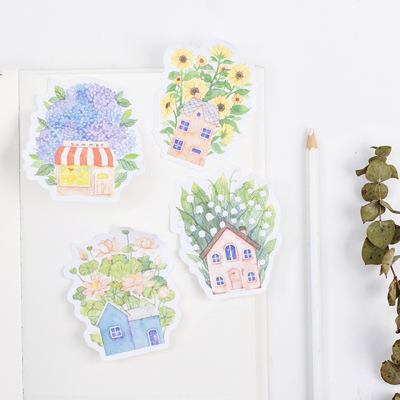 24 pcs/Lot Floral house memo pad Vintage flower post diary sticker planner Office accessories School supplies DM702