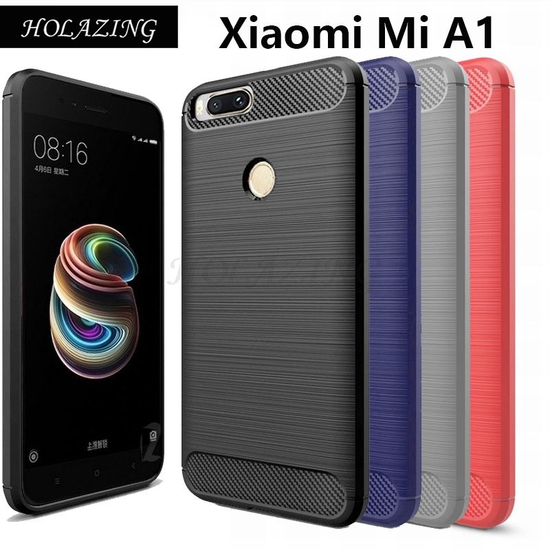 HOLAZING Glossy Spigen Rugged Soft Armor Case for Xiaomi Mi A1/5X Mi5X 5.5 Resilient Shock Absorption Carbon Fiber Design Cover