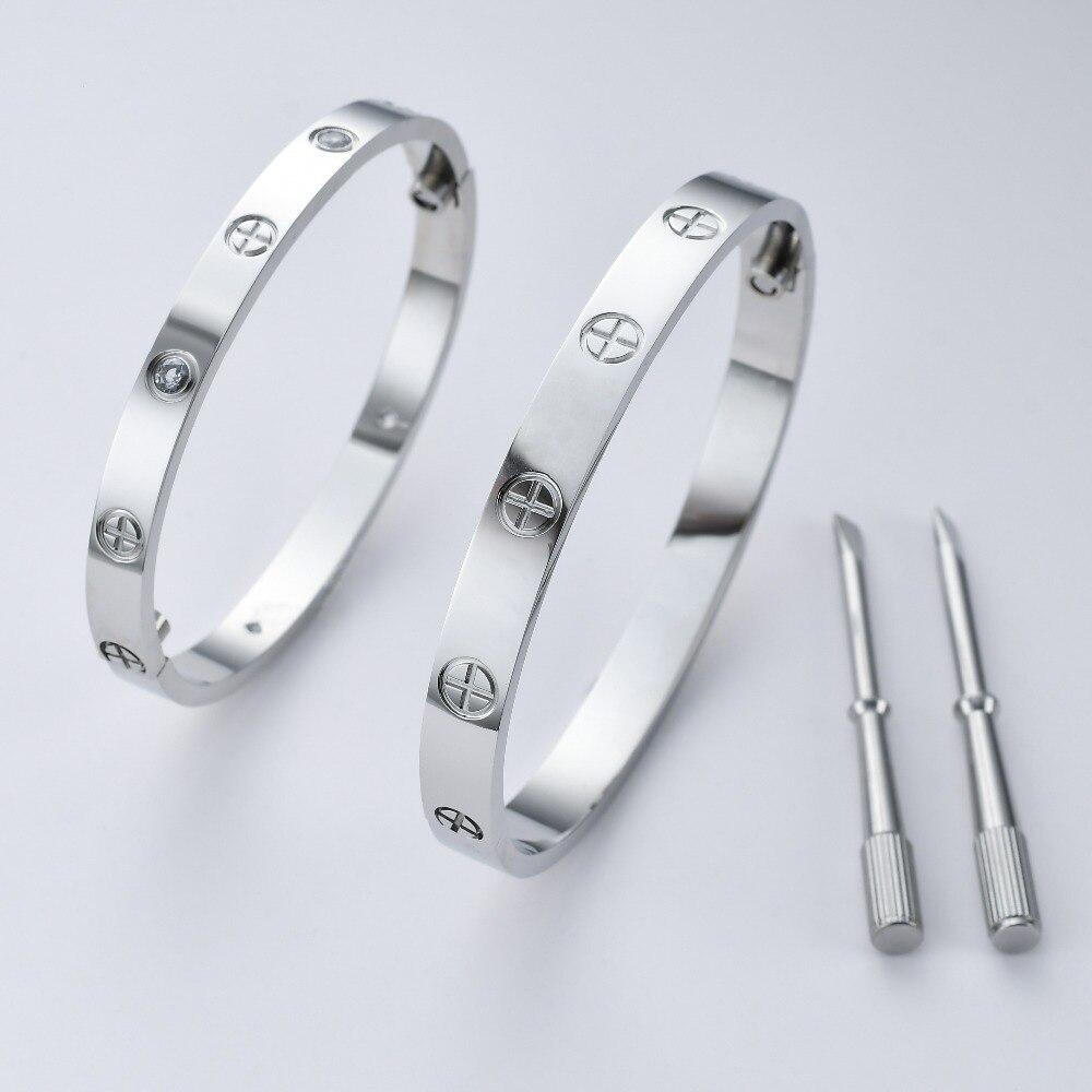 J.K AAA crystal bangle Cross screwdriver Fashion Jewellery Screws Love Bracelet Bangle Gold For Women Men Lover gift Bracelet