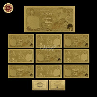 10pcs a lot 24k Gold Banknote Collectible Thailand 10 Baht World Paper Money Unique Gifts Currency Bill Note for Gifts