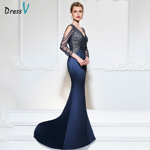 Image 2 - Dressv dark navy mermaid long evening dress v neck 3/4 sleeves button wedding party formal gowns dress sequins evening dresses