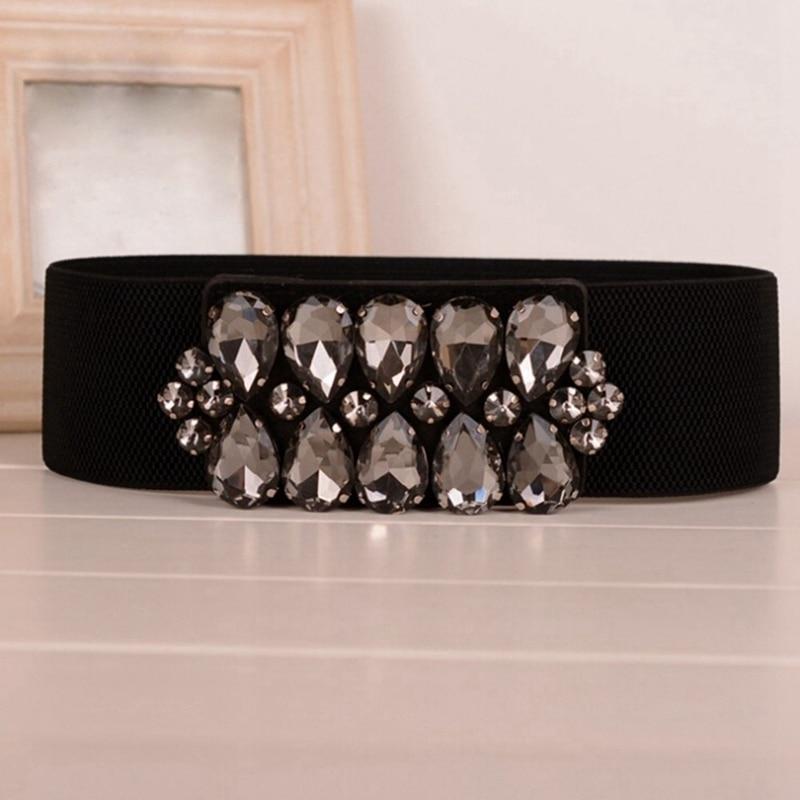 Elegant Women's Elastic Waist Belt Vintage Cummerbunds Corset Black Stretch Waistband Strap Cinch ceintures