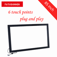 85 inch multi touch 6 touch points USB IR multi touch screen frame without tempered glass for Windows/Android/Linux/MAC system xintai touch 42 inch multi ir touch screen frame usb multi touch screen panel kit truly 4 points touch driver free