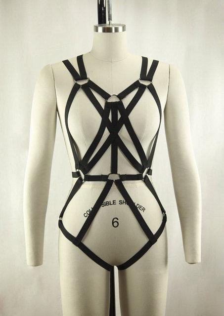 new fashion pastel goth sexy garterbelt gothic bust strap bra Rave wear  sexy women cage bondage lingerie black retail