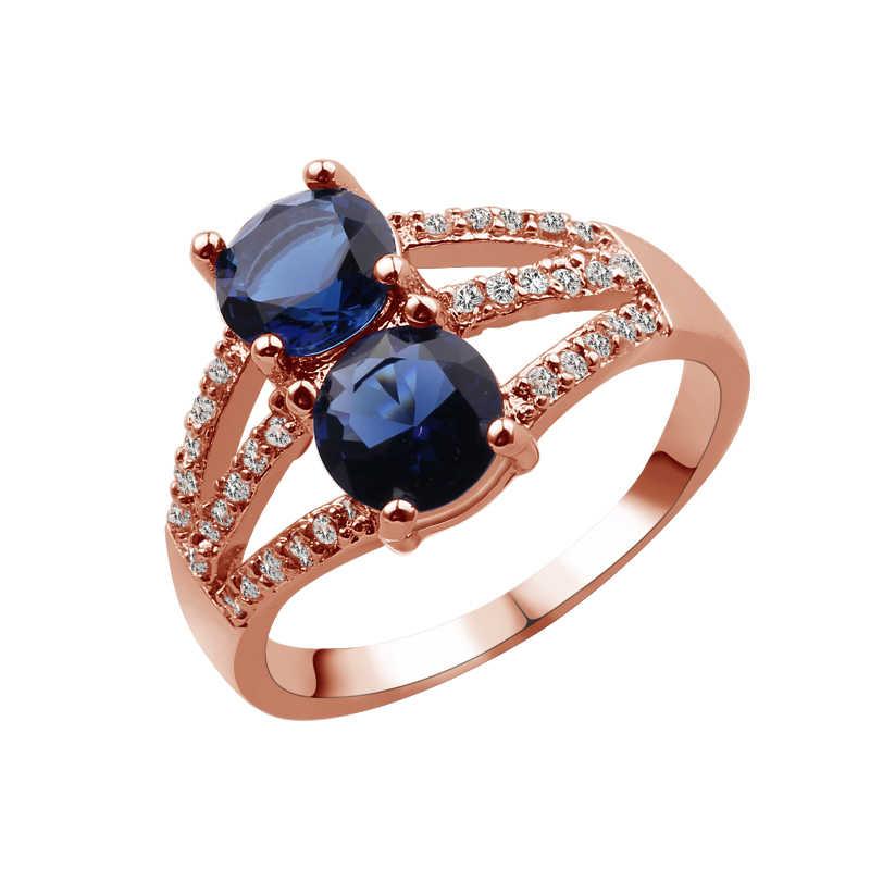 Anillo redondo de cristal rojo de dos mujeres anillo de plata y oro rosa lleno de joyería Vintage anillos de boda para mujeres piedra de cumpleaños regalos
