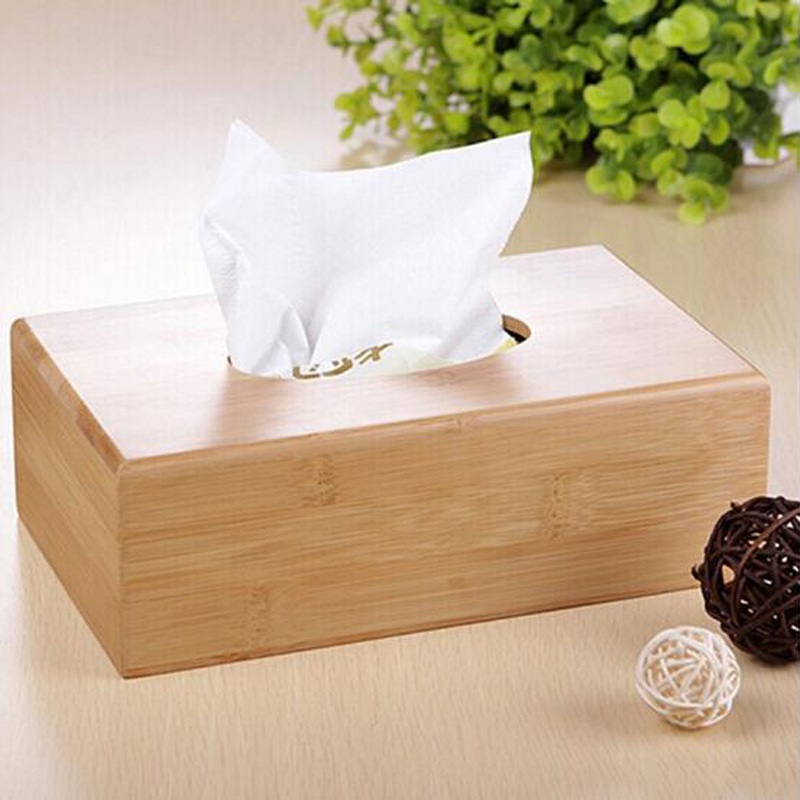 New Rustic bamboo tissue box cover wood drawer Quality flip type home decoration vintage napkin holder
