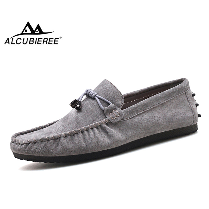 ALCUBIEREE Brand Stylish Bowtie Design Moccasins Mens Casual Driving Shoes Lace Up Loafers   Suede     Leather   Boat Shoes for Men